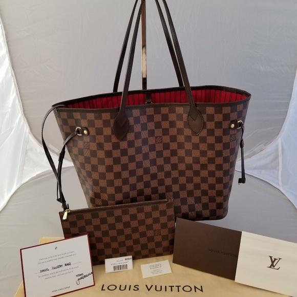 36f9871693a6 Louis Vuitton Handbags - LV Neverfull MM Damier Ebene with Clutch
